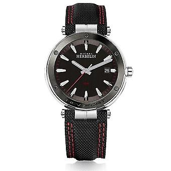 Michel Herbelin 12288-AG44 Men's Newport Black Strap Wristwatch