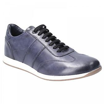 Base London Navy Leather Sonic Washed Lace Up Trainers
