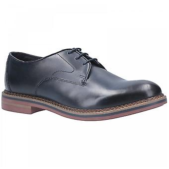 Base London Navy Leather Wayne Burnished Lace Up Shoes