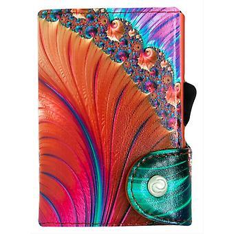 C-Secure Shell Print Single Card Holder Wallet - Orange/Multi-colour