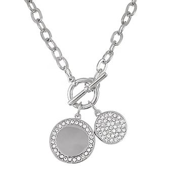 Belle & Beau Silver Plated Double Crystal Disc Necklace