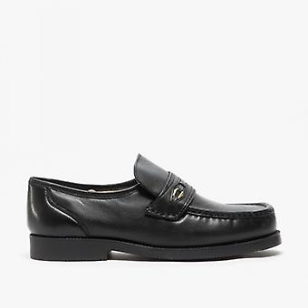 Scimitar Barrie Mens Leather Extra Wide Fit Moccasins Black