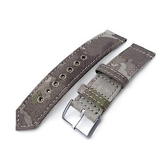 Strapcode fabric watch strap 20mm or 22mm miltat ww2 2-piece light grey camouflage nylon watch band with lockstitch round hole, brushed