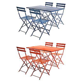 Charles Bentley 4 sæders rektangulære folde metal Dining sæt med pulverlakeret finish i orange/Navy/grå