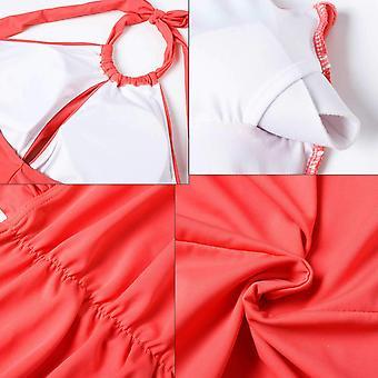 CASTDREAM Women's Girl's Halter Neck Swimsuits Ruched Monokini Bathing Suit One Piece Swimwear Orange Red XLarge CAS10003-3XL