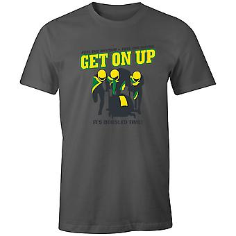 Jungen Short Sleeve Men's Crew T Shirt- Feel The Rhythm - Get On Up. It'sBobsled Time!