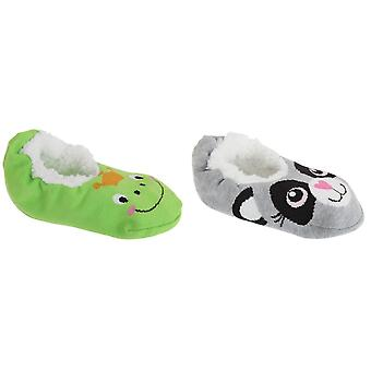 Childrens Girls Fleece Lined Animal Slippers With Grips