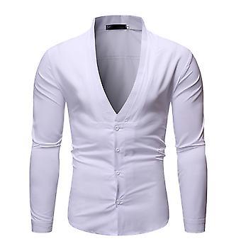 Allthemen Men's Dress Shirt Solid V-neck Shirt for Daily Wear
