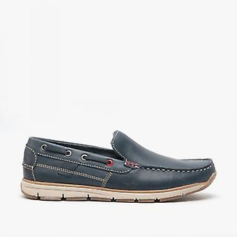 Roamers Hoyte Mens Leather Moccasin Boat Shoes Navy