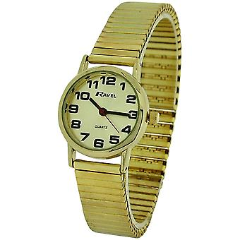 Ravel Ladies Goldtone Stainless Steel Soft Expanding Bracelet Strap Watch R0208.05.2