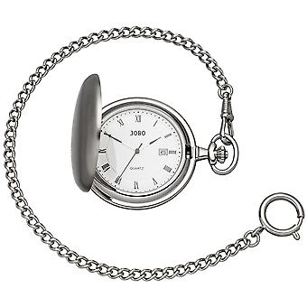 JOBO Pocket Watch Quartz Analog ChromeD Date Jump Lid