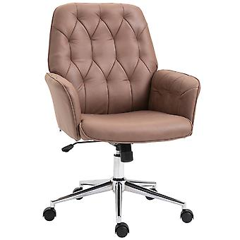 Vinsetto Bronzing Fabric Office Swivel Chair Mid Back Computer Seat Adjustable Armrest Desk Chair - Coffee