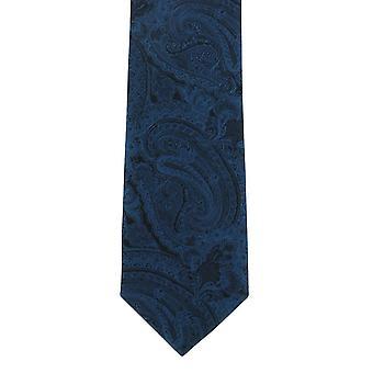 Michelsons of London Modern Paisley Skinny Polyester Tie - Purple