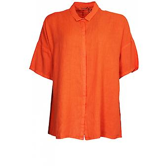 وراء الكواليس قميص الكتان البرتقالي المتضخم