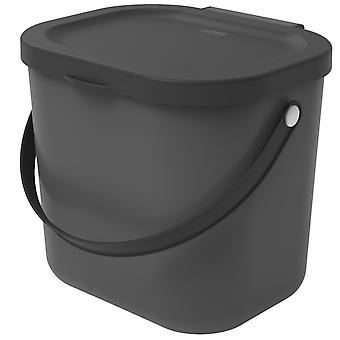 ROTHO Recycling Müllsystem ALBULA 6 l Anthrazit | Komposteimer für mehr Nachhaltigkeit im Haushalt