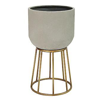 Faux Cement en Golden Metal Decorative Plant Stand