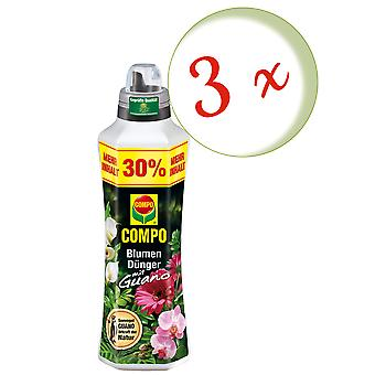 Sparset: 3 x COMPO flower fertilizer with guano, 1.3 liters