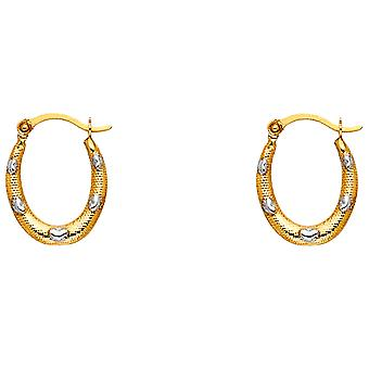 14k Yellow Gold and White Gold Fancy Hollow Hoop Earrings 12x15mm Jewelry Gifts for Women - .4 Grams