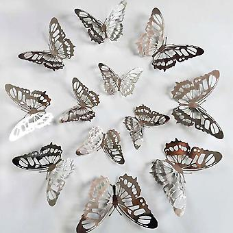 3d Hollow Golden Silver Butterfly Wall Stickers - Home Decor Wall Decals