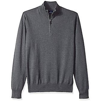 BOTONED ABAJO Hombres's Suéter De Cuarto Ligero de Algodón Supima, gris oscuro,...