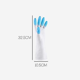 Luvas de borracha de limpeza doméstica azul 32.5x10.5cm