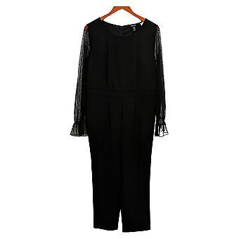 Du Jour Petite Jumpsuits Mesh Sleeve Slim Leg Knit Jumpsuit Black A345759