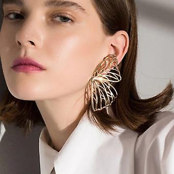 Χρυσά μεγάλα σκουλαρίκια πτώσης δήλωσης πεταλούδων