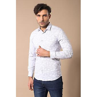Floral pattern white shirt