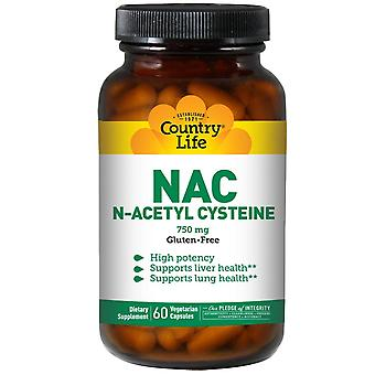 Country Life, NAC, N-Acétyl Cystéine, 750 mg, 60 capsules végétariennes