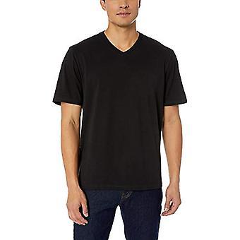 Essentials Men's 2-Pack Loose-fit V-Neck T-Shirt, Black, Large