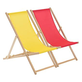 Traditional Adjustable Beach Garden Deck Chairs - Pink / Yellow