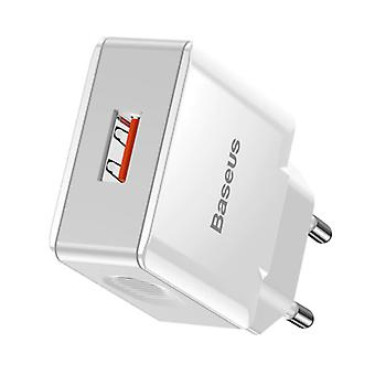 Baseus Fast Charge USB Plug Charger - Quick Charge 3.0 Wall Charger Wallcharger AC Home Charger Adapter White