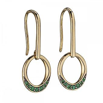 Elements Gold Yellow Gold Emerald Pave Oval Donut Earrings GE2140G