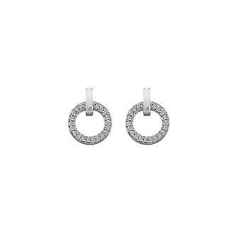 Diamantes calientes plata círculo constante pendientes DE580