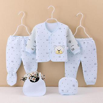 5pcs Infant Newborn Cartoon Pajama Set- Baby Boy / Girl Sleepwear Animal Printed Long Sleeve Tops Hat Pants Bib Outfits Pajamas
