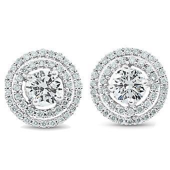 1 3/4 Ct Genuine Diamond Doppio Halo Borchie Orecchini Donne Bianco Oro