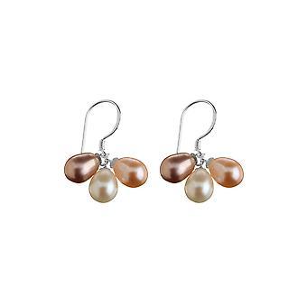 Zilveren oorbellen en veelkleurige gekweekte parels - apos;Trio-