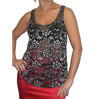 Women's Summer See Through Tank Top Ladies Casual Floral Lace Mesh Sleeveless Stretch Cami Vest Black Silver 6-10