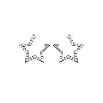 Diamond åpen Star Stud øredobber 925 sølv hvit brilliant rund gemstone