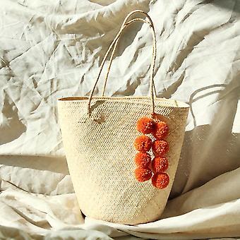 Βόρνεο Serena άχυρο tote τσάντα με κολοκύθα Pom-poms
