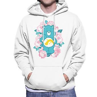 Care Bears Wish Bear Pink Flowers Men's Hooded Sweatshirt