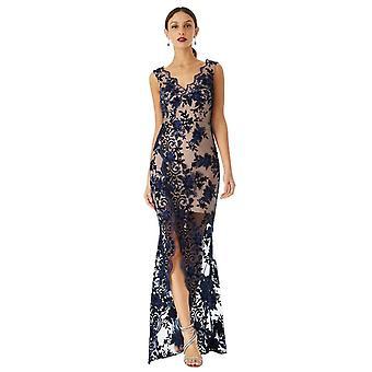 Embroidered v-neck split maxi dress
