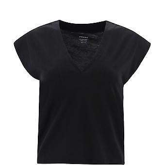 Frame Lwts0916noir Women's Black Cotton T-shirt