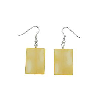 Hook Earrings Pillow Bead Yellow Silky Glossy