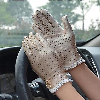 Bavlněné letní krajkové patchworkové rukavice, protiskluzové ochranné protisluneční