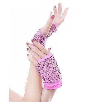 Fishnet Mittens لطيف الشرير سيدة ديسكو الرقص زي الدانتيل بلا أصابع قفازات شبكة
