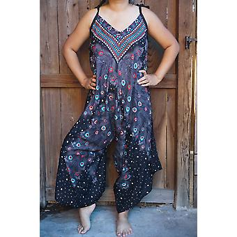 Black Peacock Boho Hippie Jumpsuit Rompers