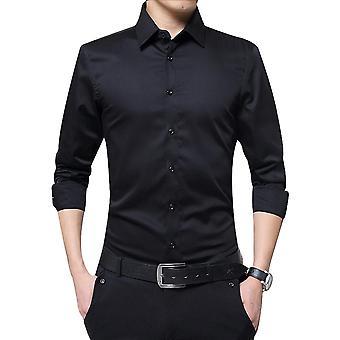 Miesten pitkähihainen paita, rento kiinteä väri, kangas pehmeä, mukava liiketoiminta