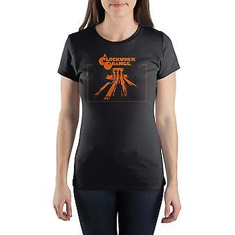Kellokoneisto oranssi miehistön kaula lyhythihainen naisten t-paita