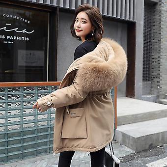 Women Slim With Big Fur Collar Outerwear Autumn Winter Jacket